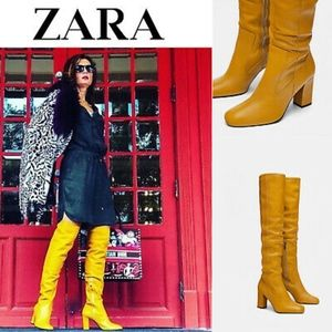 NWT Zara Mustard Color Leather Over-The-Knee Boots